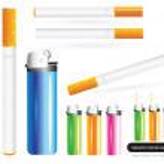 briquet et cigarettes vector réaliste — Vecteur