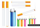 Realistic Vector Cigarettes and Lighter — Stock Vector