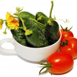 Healthy Eating. easonal organic fresh vegetables are isolated on a white ba — Stock Photo