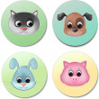 ������, ������: Vector icon set of cute animal faces smiling