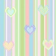 Cute background with lines and hearts — Stock Vector