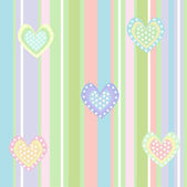 Cute background with lines and hearts — Vector de stock
