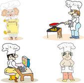 Chef cooks set — Stock Vector