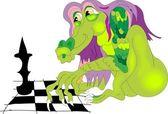Dragon playing chess — Stock Vector