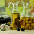 Olive oil bottles — Stock Photo