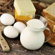 Dairy products and Fresh eggs — Stock Photo