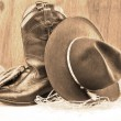 Cowboy boots and hat — Stock fotografie