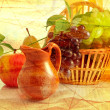 Grunge background with fruits — Stock fotografie