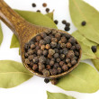 Black pepper and bay leaves — Stock Photo