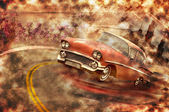 Vintage car grunge background — Stock Photo