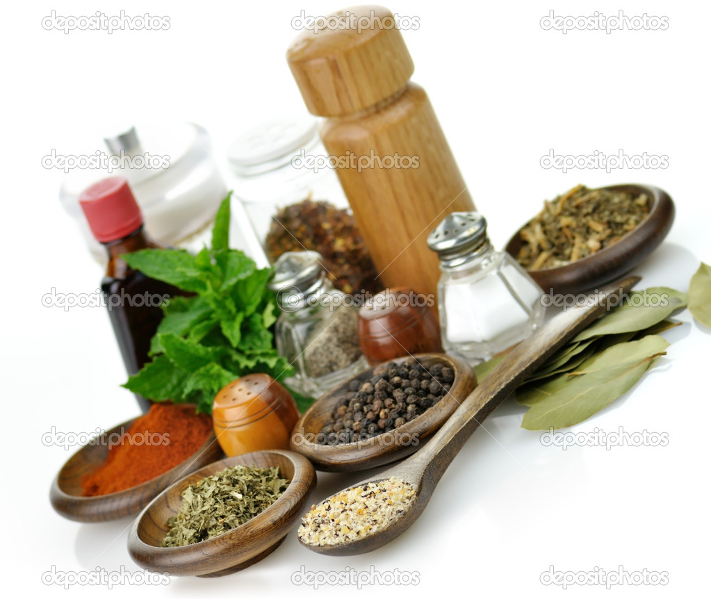 Arrangement of spices on a white background — Stock Photo #6582594