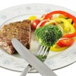 Steak and fresh vegetables — Stock Photo