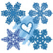 Snowflake with heart — Stock Photo