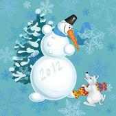 снеговик и маленький щенок — Cтоковый вектор