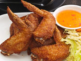 Fried Chicken wing on plate — Foto de Stock