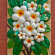 Plumeria on wall — Stock Photo