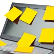 Laptop notebook isolated on white with postits on it - Stock Photo