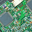The modern printed-circuit board with electronic components macr — Photo