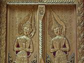 Trä templet dörren dekorationer — Stockfoto