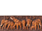 Elephants engrave on wood — Stock Photo