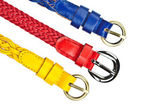 Yellow, red, blue belt on whtie background — Stock Photo
