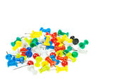 Isolated colorful pushpins focus at yellow — Stock Photo