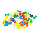 Isolated colorful pushpins focus at red — Stock Photo