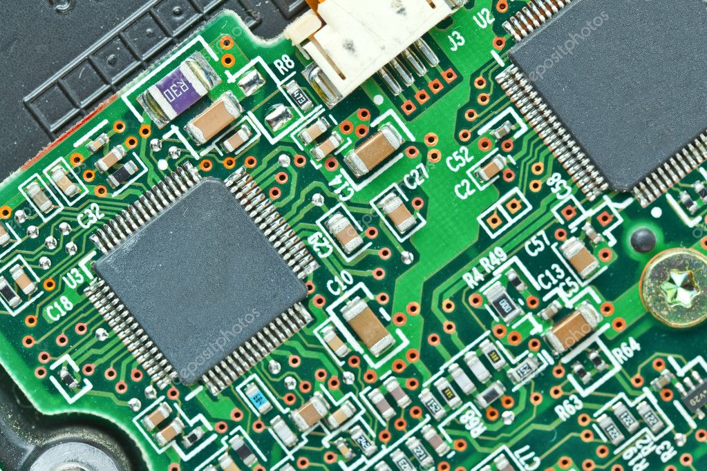 The modern printed-circuit board with electronic components macro background — Stock Photo #6648710