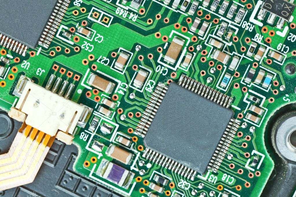 The modern printed-circuit board with electronic components macro background — Stock Photo #6648766
