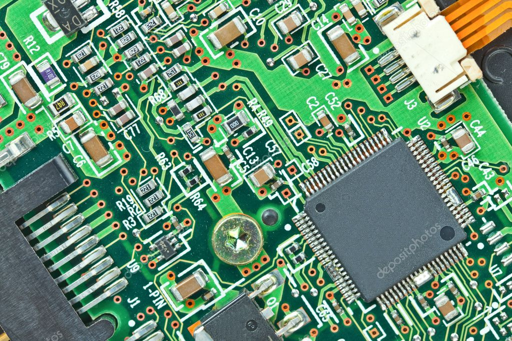The modern printed-circuit board with electronic components macro background — Stock Photo #6648771