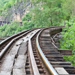 Curve train rails with a forest at the background — Stock Photo