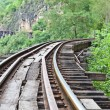 Stock Photo: Curve train rails with forest at background