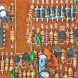 The printed-circuit board with electronic components macro backg — 图库照片