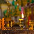 Candles lighting in temple - Stock Photo