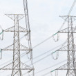 Electricity, twin High voltage power pole — Stock Photo
