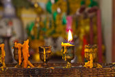 Candles lighting in temple — Стоковое фото