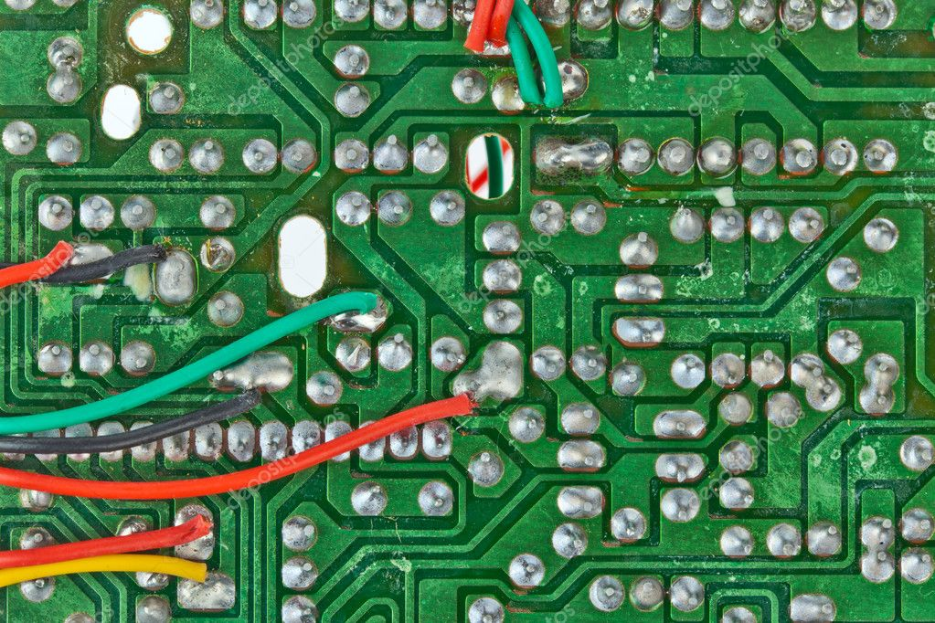 The printed-circuit board with electronic components macro background — Foto Stock #6655244