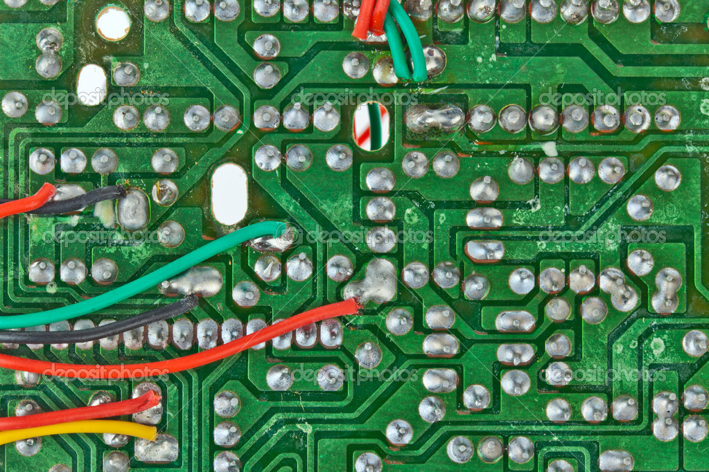 The printed-circuit board with electronic components macro background — Photo #6655244