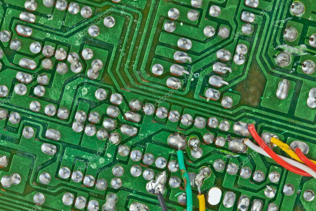 The printed-circuit board with electronic components macro background — Stock Photo #6655263
