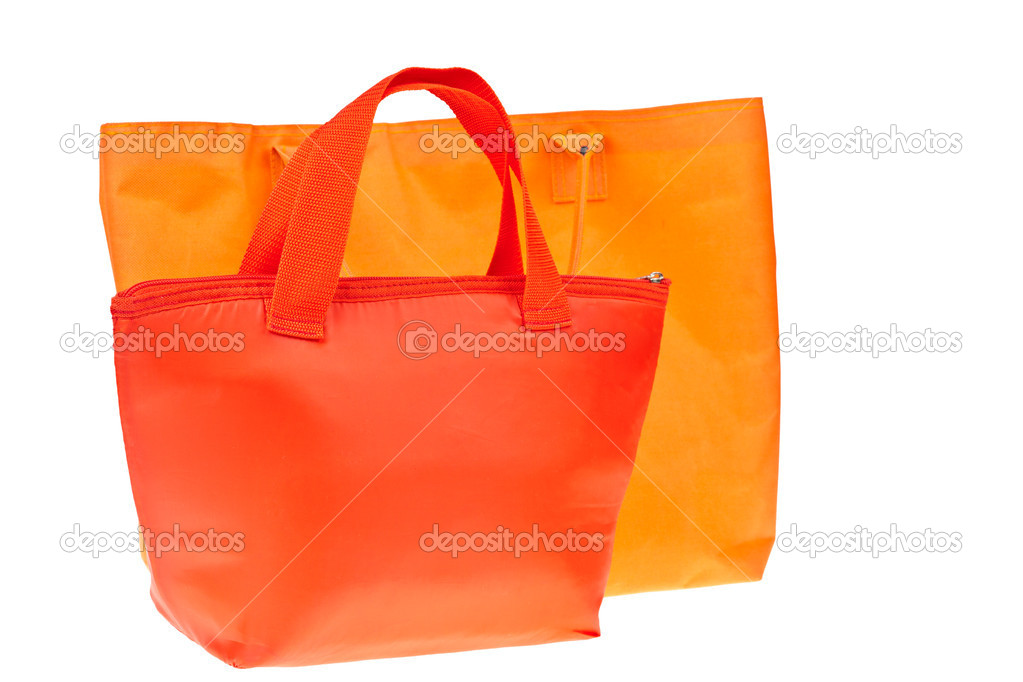 Colorful red and orange cotton bag on white isolated background.  Stock Photo #6655499