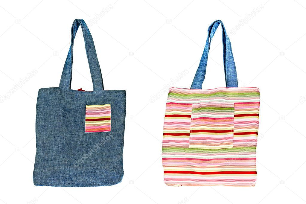 Colorful cotton bag on white isolated background. — Stock Photo #6655796