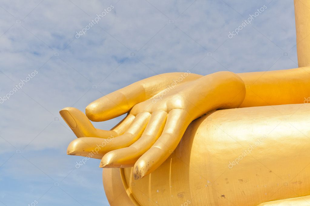 Big Golden Buddha hand statue in Thaland temple  Stock Photo #6658737