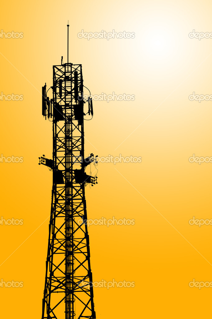 Mobile phone communication repeater antenna tower as Silhouette background  Stock Photo #6659247