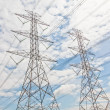 Stock Photo: Electricity, twin High voltage power pole