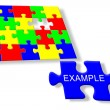 Colorful jigsaw puzzle Example — 图库照片