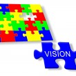 Colorful jigsaw puzzle vision - Stock Photo