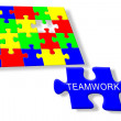 Colorful jigsaw puzzle Teamwork — Stock Photo