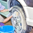 Car care work with machine cleaning at service station — Stock Photo