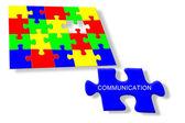 Colorful jigsaw puzzle, communication — Stock Photo