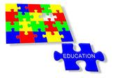 Kolorowe puzzle układanki edukacji — Zdjęcie stockowe